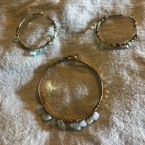 Jewelry - Set Hammered metal earrings & bracelet